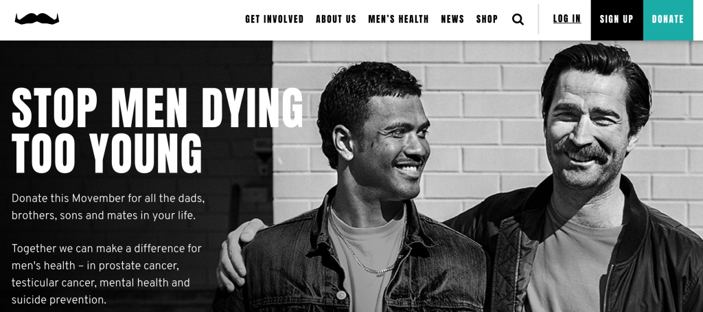 Movember 2018 WEbsite Homepage Screen Shot - Stop Men Dying Too Young